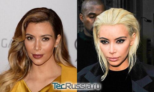 Нос Ким Кардашьян до и после возможной ринопластики
